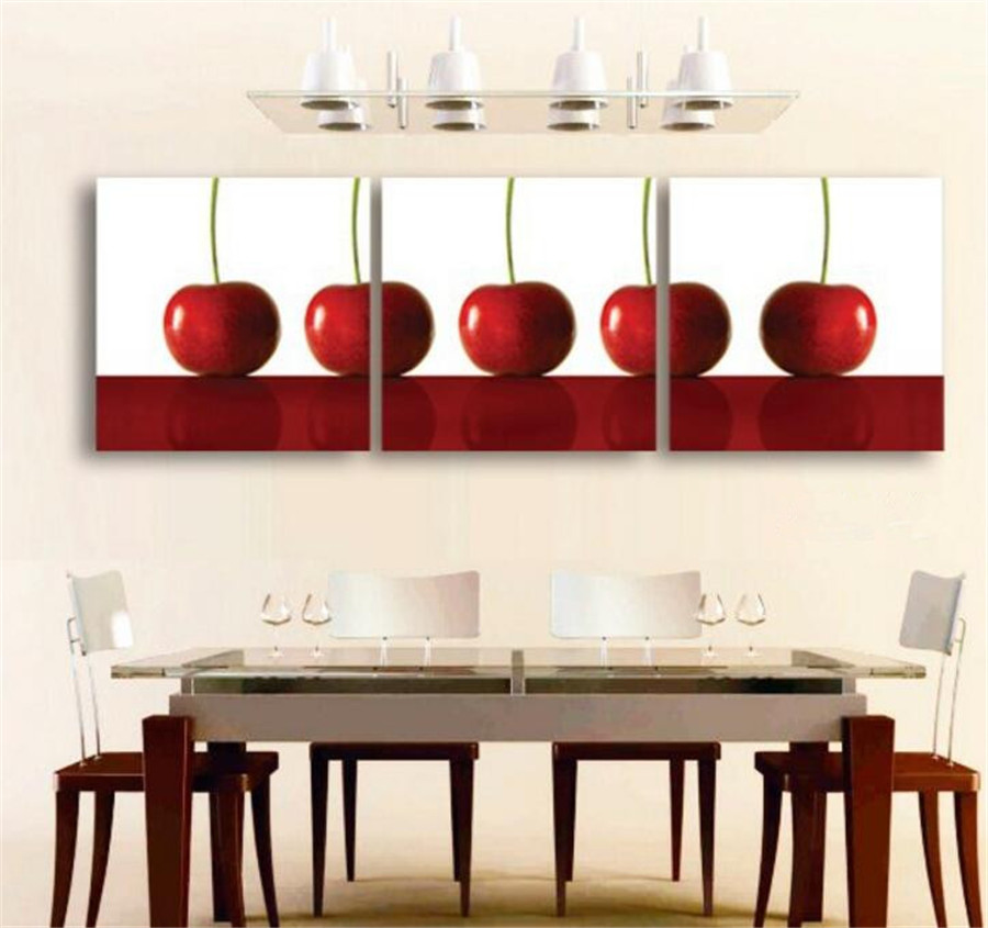 3 Panel Cherry Fruit Painting Canvas Art Picture Decoracion Kitchen  Paintings Unframed Paint On Canvas Picture