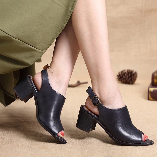 2017 Women Shoes Sandals Peep Toe Genuine Leather Buckle Chunky Heels Women Summer Shoes