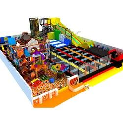 Kinder freizeitpark mit trampolin zone/trockenen skifahren rutsche/seil kletterer/ball pool labyrinth YLW-IN180816
