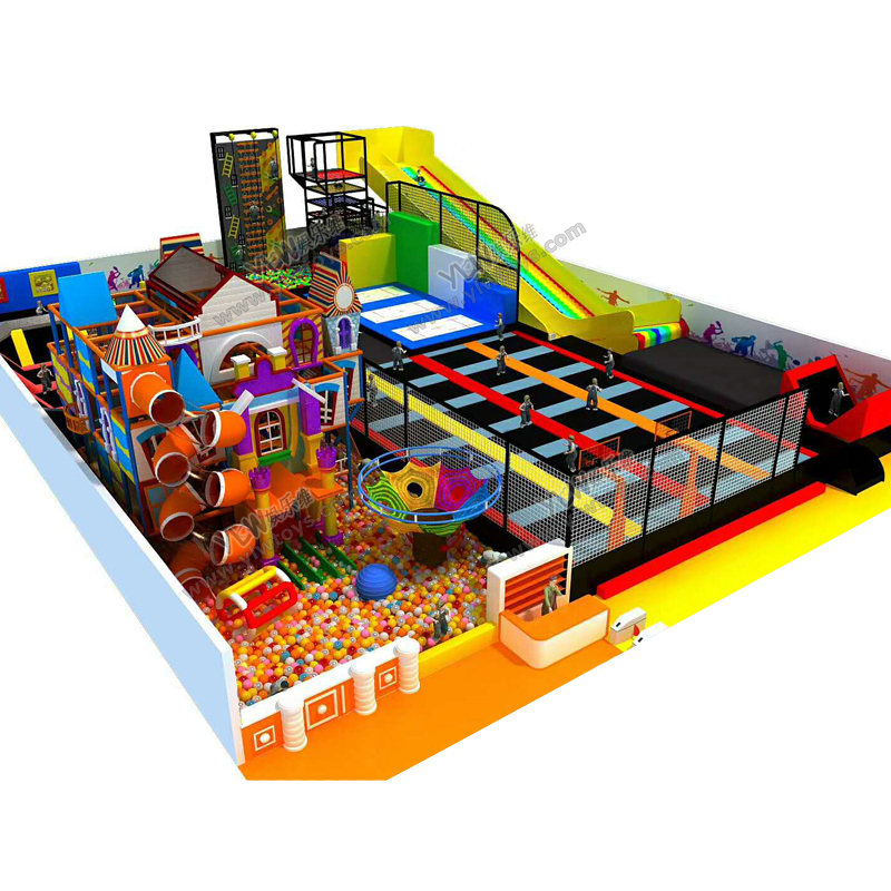 Children Amusement Park With Trampoline Zone/dry Skiing Slide/rope Climber/ball Pool Maze YLW-IN180816
