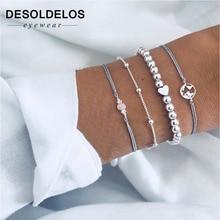 купить 4 Pcs/set Women's  Gem Beads Heart Round Geometry Tassel Bracelet Set Bohemian Vintage Jewelry Accessories Gifts по цене 129.35 рублей