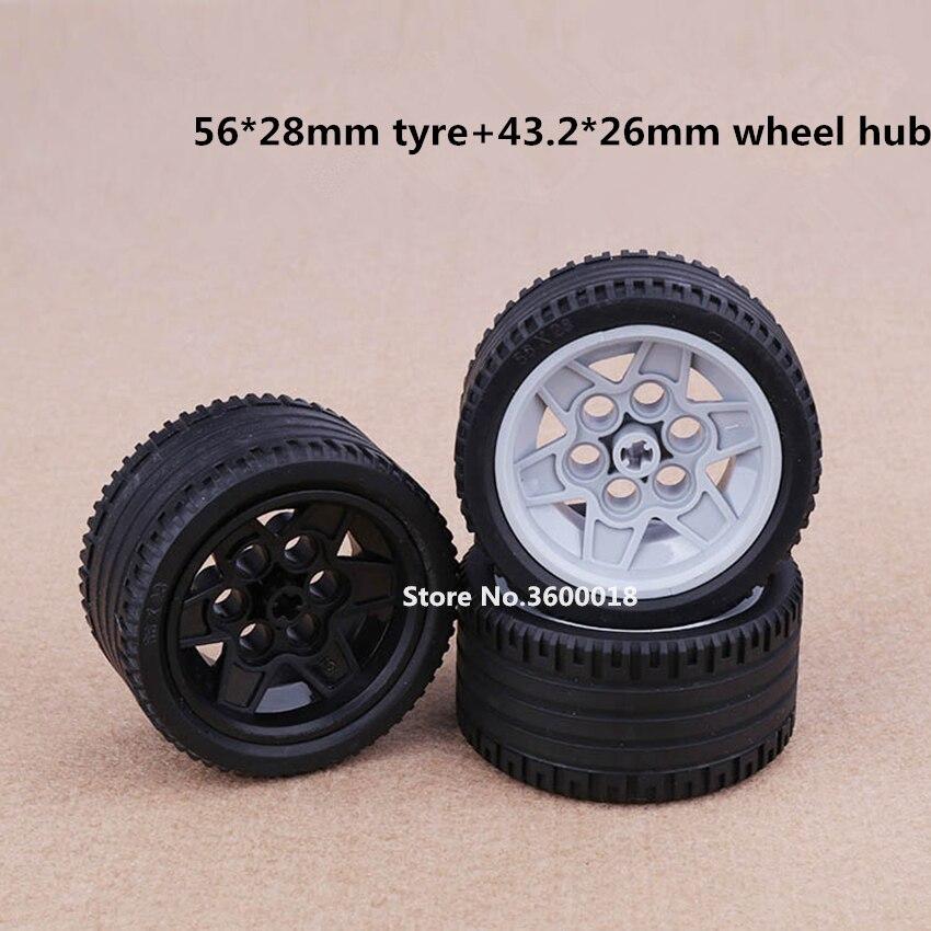 2set/lot Decool TECHNIC Wheel 56x28mm Tire + 43.2x26mm Wheel Compatible Legos 41896 44897 MOC DIY Blocks Bricks Parts Set