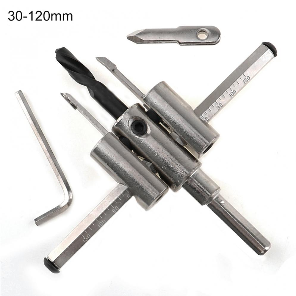 New 30mm-120mm Alloy Adjustable Circle Hole Cutter Set with Wood Metal Hole Saw Drill Bit Tools for Woodworking 1pc metal concrete drill bit wall hole saw cutter set with 200mm rod and wrench for brick cement stone