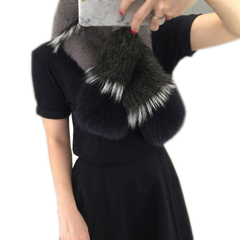 Women real fox fur   scarf   2018 new genuine fox fur shawl winter warm fox fur   scarves     wraps