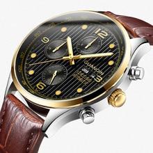 GUANQIN Luxus Marke Klassische Männer Automatische Datum Leucht Uhr Herrenmode Casual Leder Armband Wasserdichte Mechanische Uhren