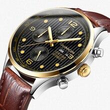 GUANQIN 高級ブランドクラシックメンズ自動日付発光時計メンズファッションカジュアルレザーストラップ防水機械式時計