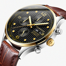 Guanqin 럭셔리 브랜드 클래식 남성 자동 날짜 빛나는 시계 남자 패션 캐주얼 가죽 스트랩 방수 기계식 시계