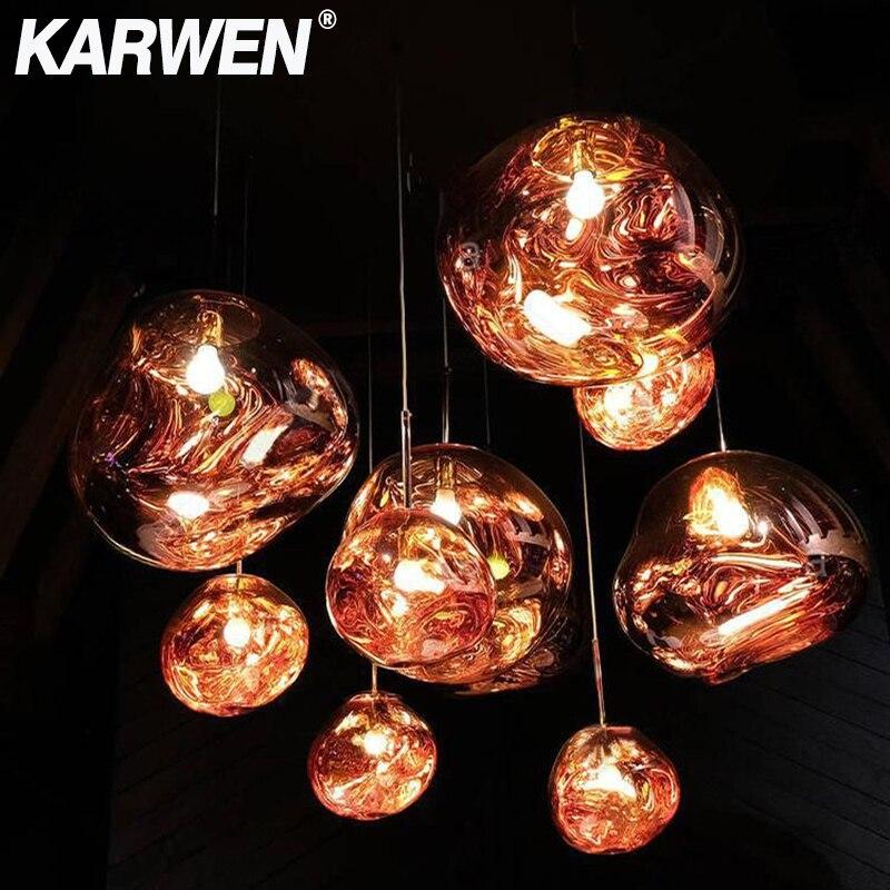 KARWEN verre lave irrégulière suspension lumières 20 CM/30 CM/40 CM cuivre/or/argent lampe à suspendre E27 Creative chambre nouveauté Hanglamp