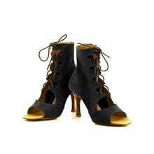 YOVE Customizable Dance Shoe Fur Women's Latin/ Salsa Dance Boot 3.25″ Flare High Heel More Color w134-15