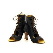 YOVE Dance Shoe Fur Women's Latin/ Salsa Dance Boot 3.25″ Flare High Heel More Color w134-15