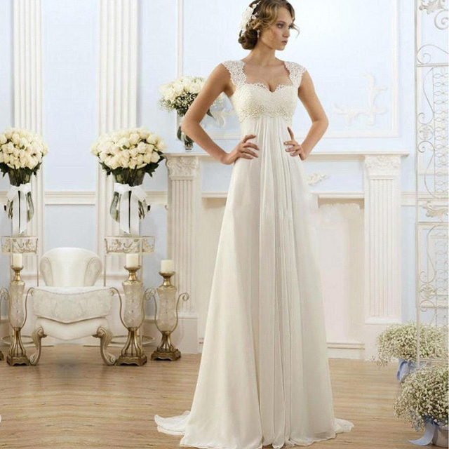 Wedding Dress 2017 Pregnant Simple A Line Cap Sleeve Beach Elegant ...