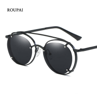 ROUPAI Polarized Sun Glasses Women 2017 Fashion Sexy Round Metal Frame Sunglasses Women Famous Brand Sunglasses