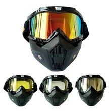 Мотокросс Ветрозащитный Шлем Маска Съемные Очки И Рот Фильтр Идеально Подходит для Открытым Лицом Мотоцикл Половина Шлем Ретро Шлем