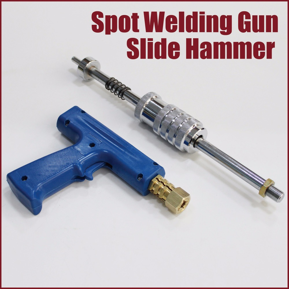 купить spot welding shrinking gun slide hammer dent puller car dent repair stud welder kit tool to remove dents auto body dent pulling по цене 6038.18 рублей
