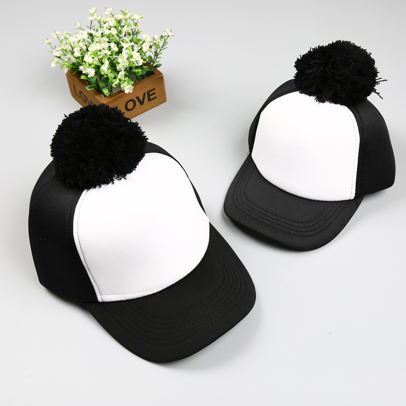 New Pom Pom Hats Kids Cotton Caps Boys Baseball Caps Summer Hats Caps Girls Baseball cap 2-8 Ages Baby Children Hat gorras baby kids baseball season clothes baby girls love baseball clothing girls summer boutique baseball outfits with accessories