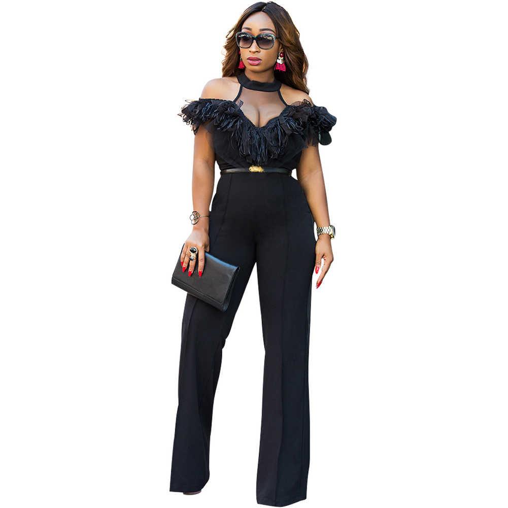 4867378adb32 Sexy Women Cold Shoulder Combinaison Femme Sheer Mesh Splice Wide Leg  Jumpsuit Tassel Ruffle Hem Clubwear