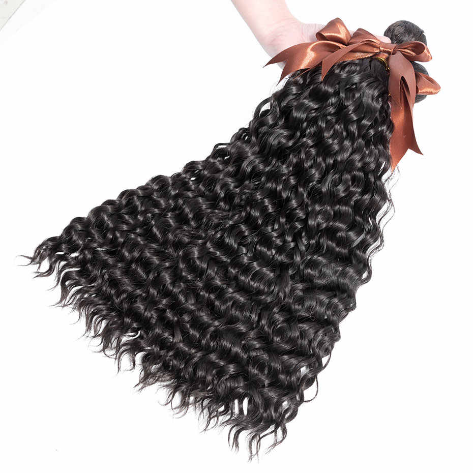 Human Bundles With Closure Brazilian Hair Weave Water Wave Hair Bundles With Closure 3 Bundles Clover Leaf Remy Hair Extension