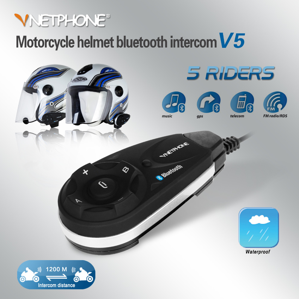 Vnetphone 2017 Intercome V5  5 Riders Motorcycle Motocross Bluetooth V5 Intercom Headset FM MP3 GPS Wireless Interphone Speaker vnetphone 5 riders capacete cascos 1200m bt bluetooth motorcycle handlebar helmet intercom interphone headset nfc telecontrol