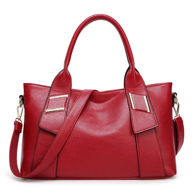 ALIEME Women Handbags Fashion Litchi lines Totes Big Hand Bags Red Pu Leather Shoulder Bags Ladies Crossbody Bags Women bolsa 30