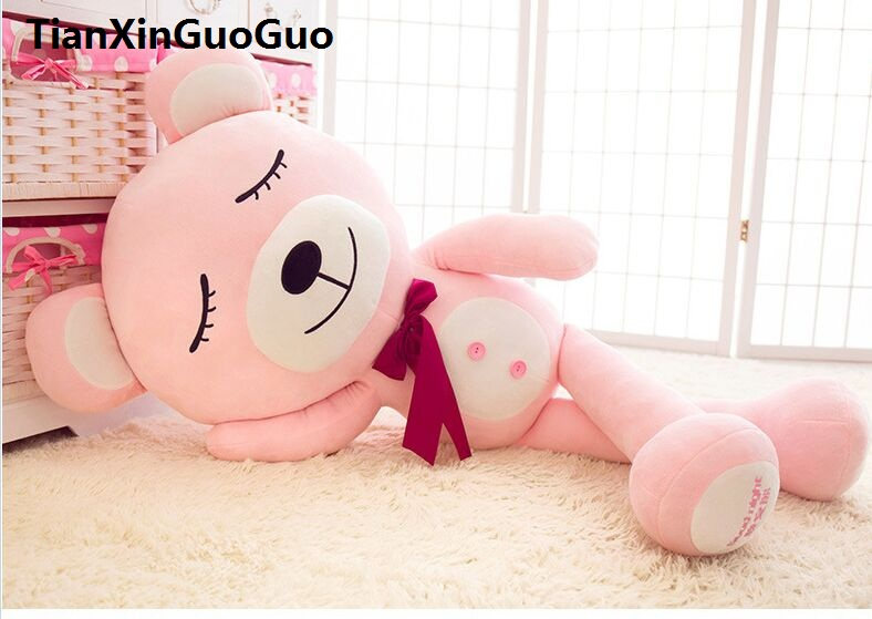 large 100cm pink teddy bear plush toy good night bear soft doll throw pillow Christmas gift w2527