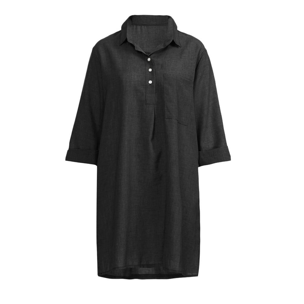 HTB159MgbfvsK1Rjy0Fiq6zwtXXad Large Plus Size !!Best Sale 2019 Women's Solid Boho Turn-down Collar Dress 3/4 Sleeve Casual Pocket Button Dress Vestido @6