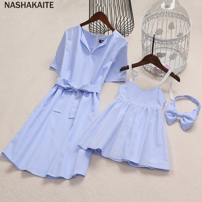 mama and daughter dresses Blue Stripe Mini Dress mother daughter dresses family look Mommy and me clothes mini me NASHAKAITE ...