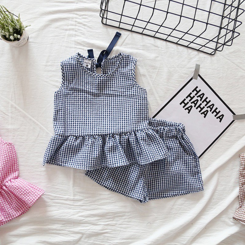 Summer Cute Plaid Lattice Ruffles Vest Sleeveless Shirts + Shorts 2pcs Kids Baby Gilr Clothes Suits ...