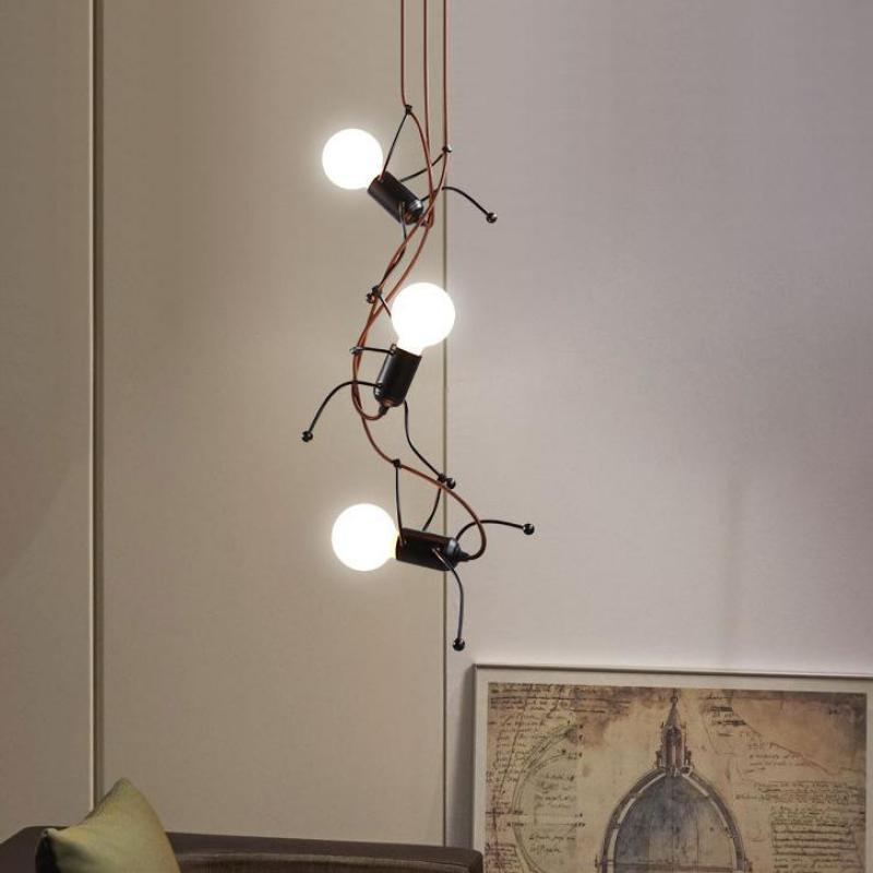 Black Modern doll hanging lamp for Children Room Living Room Bedroom Bedside Lamp Art pendant light Corridors iron pendant lamps