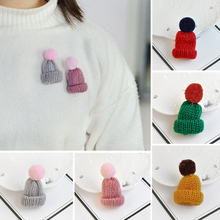 Mini Colorful Woolen Knitted Hairball Hat Brooch Pins For Women Men Sweater Shirt Jacket Collar Badge
