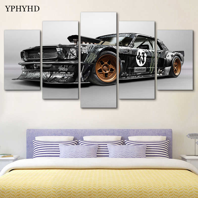 YPHYHD Modern Home Decor 5 Piece Ford Mustang Rtr Car Canvas Art Print Poster Picture Frames Modular Paintings on the Wall Art