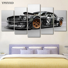 YPHYHD Modern Home Decor 5 Piece Ford Mustang Rtr Car Canvas Art Print Poster Picture Frames Modular Paintings on the Wall Art(China)