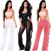 Hot Sexy Women Beach Mesh Solid Ruffle Sheer Wide Leg Pants Trousers Swimwear Bathing Suit Beachwaer Bikini Cover Up S-XXL