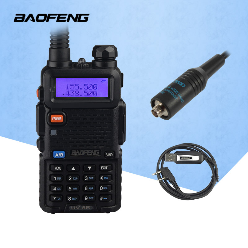 Baofeng uv5r tvåvägs radio Dual-Band UV5R-skivradio walkie talkie cb-radio med USB-programmering och RH-771-antenn