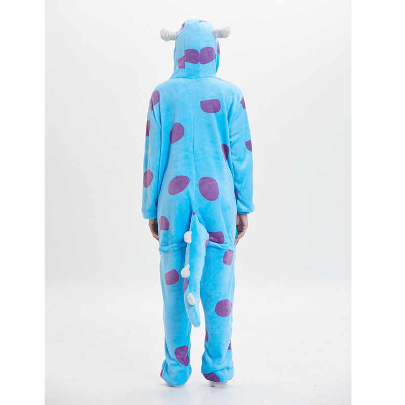 Kadınlar Hayvan Onesie Canavar Sullivan Kigurumi Sully Pijama Komik Takım Elbise Yetişkin Karikatür Mavi Inek Yumuşak Sıcak Tulum Fantasias Fantezi