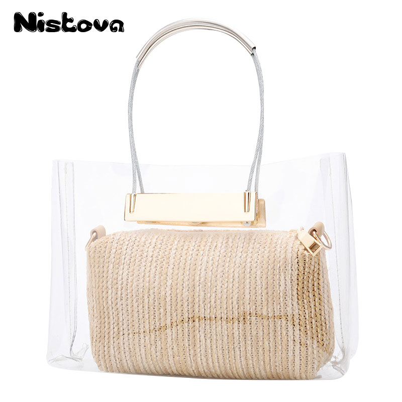 Womens Wear Brand New PVC Transparent Jelly Bag Handbag Straw Bale Fashion Chain Messenger Bag Composite Bag Beach Bag