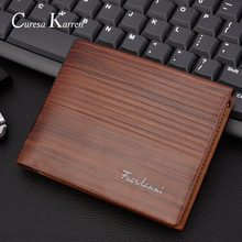 large capacity wallet New mens short Europe and America business casual fashion retro cross section embossed