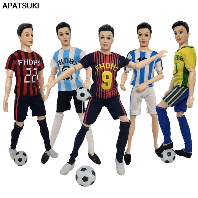 f13a30c308546 US $1.94 41% OFF|1set 1/6 Football Sport Wear Clothes For Ken Doll Top +  Shorts + Socks For Barbie's Boyfriend Ken Doll Male Gym Suits-in Dolls ...