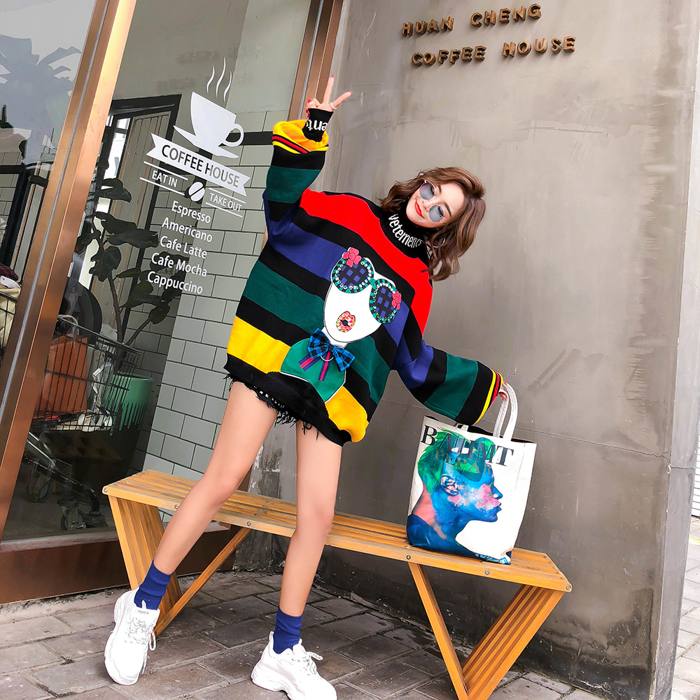 Image 4 - 2020 Spring rainbow stripes loose plus size sweaters women  fashion puff sleeve turtleneck knitted sweatersPullovers   -