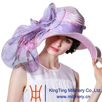 June'syoung 2015 Fashion Summer Church Hats 100% Polyester Romantic Purple Color Organza Floral Wide Brim Elegant Lady Fedoras