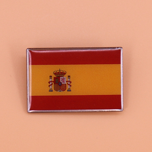 Spanje Vlag Pin Spanje Nationale Embleem Broche Crown Lion Shield Badge Rood Gele Strepen Land Vlag Pins Mannen Patriottische Sieraden(China)