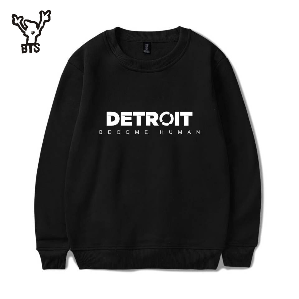 BTS 3D Detroit Become Human Sweatshirts Hot Play Game Detroit Hoodies Men Harajuku Hip Hop Autumn/Winter Capless Sweatshirt 4XL
