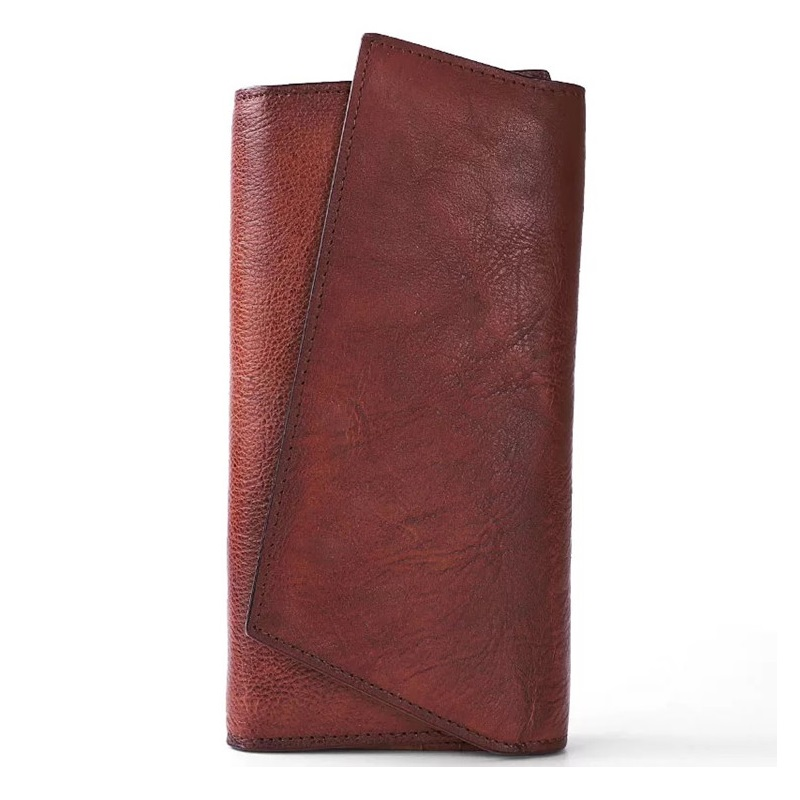 Vintage Handmade Natural Cow Leather Women s Large Burgundy Wallet Card Case Retro Long Wallet Phone