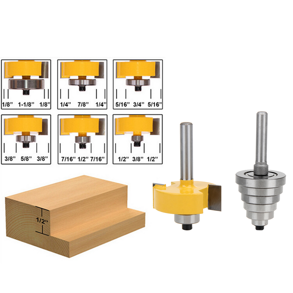 Durable Rabbet Router Bit with 6 Bearings Set -1/2H - 1/4 Shank Suitable For Solid Wood Particle Board durable 6 100 290107