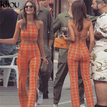 Two Piece Set Tracksuit Plaid Sexy Sleeveless SI01
