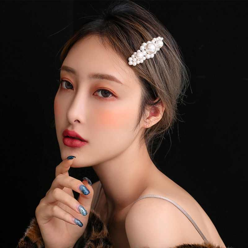 MYHFKK2019 hot fashion headwear Pearl Hair Clip Snap Hair Barrette Stick Hairpin Hair female hair jewelry inlaid hairpin FJ011