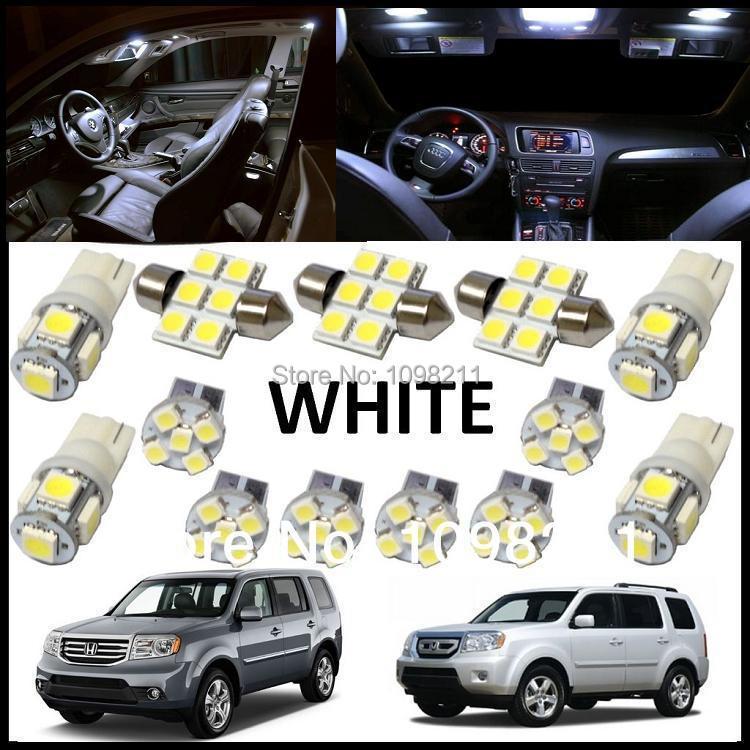 13PCS Set White LED Lights Interior Package Kit For Honda Pilot 2009-2013
