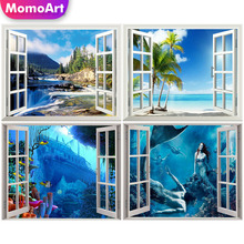 MomoArt Diamond Painting Sea Beach Window Outside Embridery Full Square Rhinestone Diy Mosaic