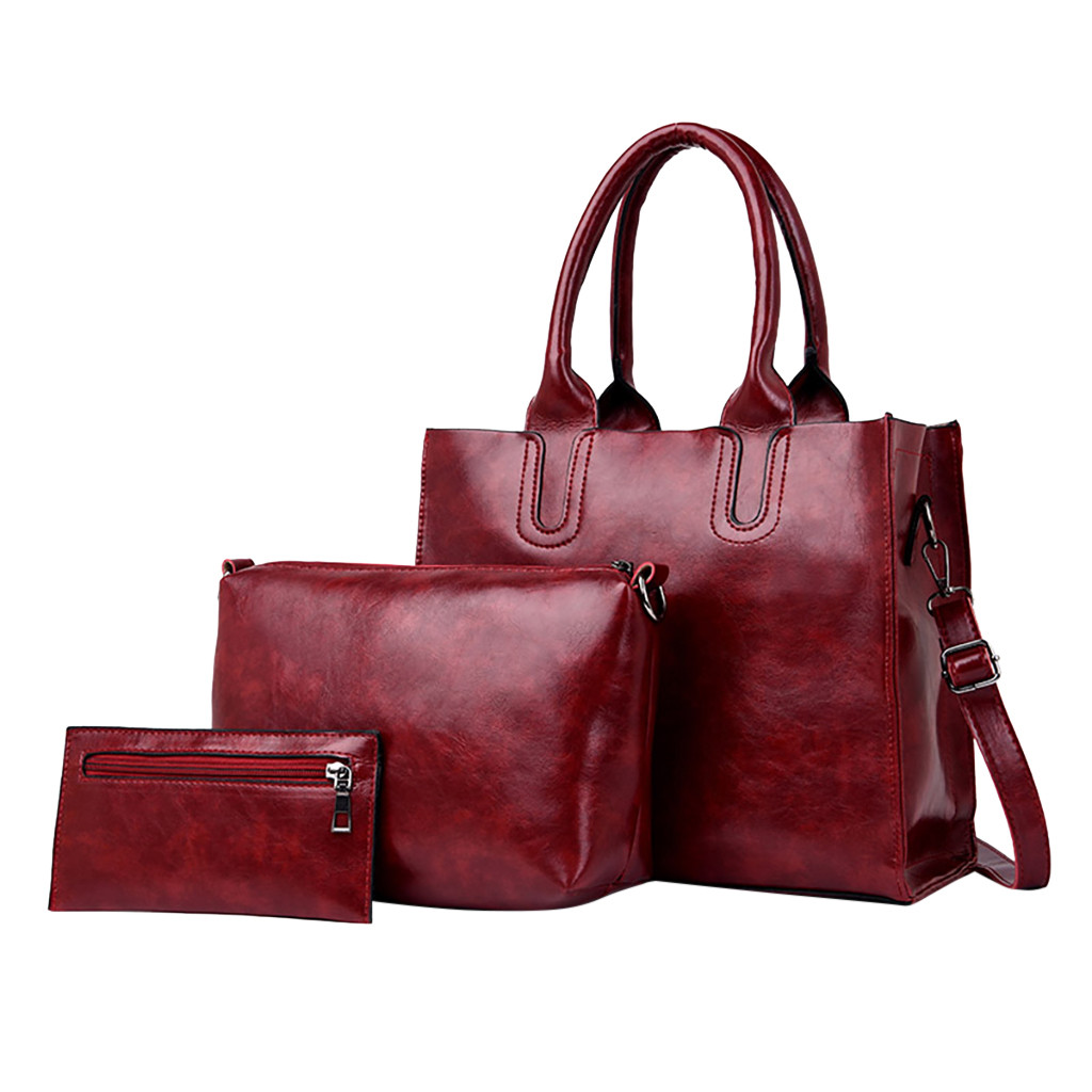 Wine Red Leather Messenger/Satchel Bag Plus Crossbody Handbag Plus Purse For Women 3Pcs/Set