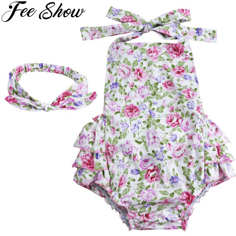 Baby Girls Floral Cherry Print Ruffles Romper Summer Dress Headband Set SZ 6-24 Months