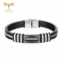 High Quality Stainless Steel Silicone Bracelet for Men Women polished Accessory Clasp Bracelets
